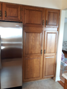 Oak Kitchen Cabinets and Kitchen Island Available for sale