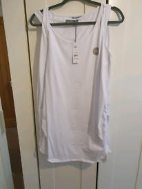 BRAND NEW 2 white Maternity long vests size 16