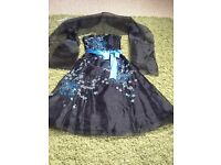 Lovely blue and black party dress.