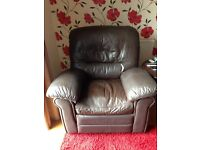 Brown leather recliner chair FREE