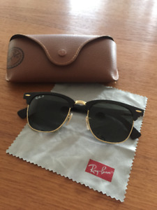 RayBan-P Clubmaster RB3507 black and gold sunglasses - MINT