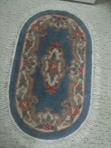 blue area rug with a white fringe