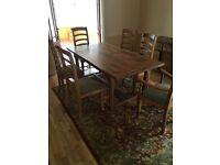 Antique Solid Oak Cabinet & Matching Dining Set