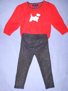 Toddler Girls 2pc Outfit,Cotton Sweater,Black Pants,Size 2T,EUC