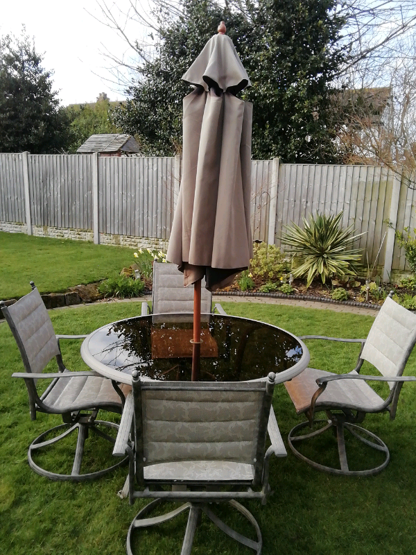 Taupe Quality Textoline Garden Furniture Set Table,4 Spin ...