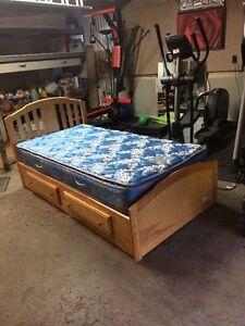 Single Oak Wood Bed and Mattress