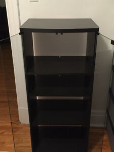 black audio 4-shelf cabinet with glass door