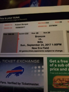 4 tickets Broncos-Bills September 24 1pm