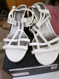Italian white leather sandals