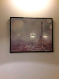 Framed poster Paris canvas black frame pink dreamy landscape 50 x 40cm