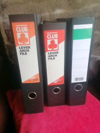 Lever Arch Files x 3 for sale