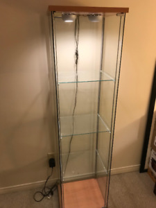 IKEA THREE SHELF GLASS DISPLAY CABINET WITH POT LIGHTS