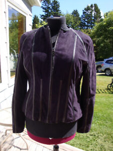 Soft Genuine Purple Leather Suede Jacket Size Large