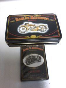 2 decks of Harley Davidson playing cards with tin.