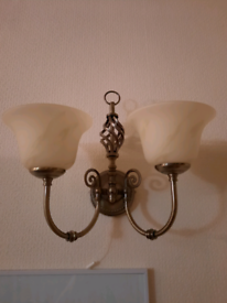 2 Brass chandeliers and 3 wall lights