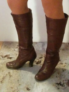 Size 6 - 6.5  - 1 tall brown leather boot, 1 black patent bootie