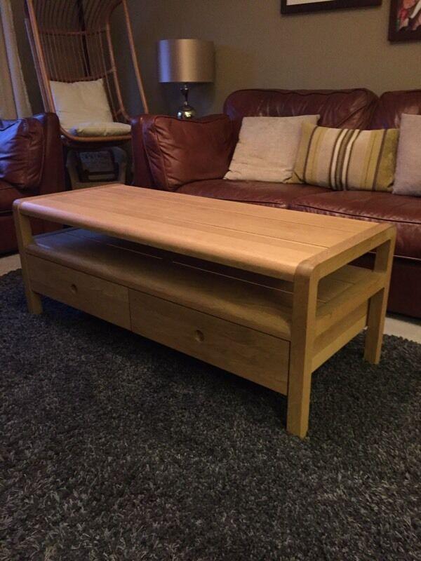 Habitat Radius Solid Oak Tv Unit Coffee Table