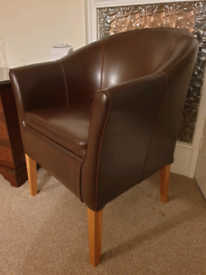 Antiqued Brown Leather Tub Chair