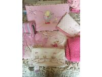 Pink cot bedding, curtains, canvas and blankets