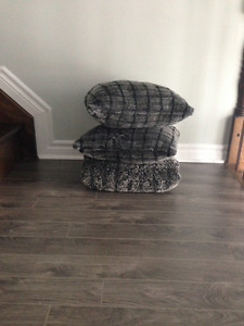 Grey Faux Fur Throw and Two Pillows