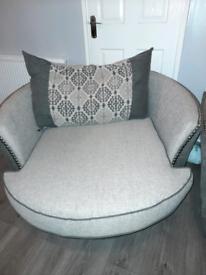 Swivel chair & pouffè