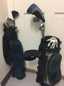 Kids golf clubs and bags