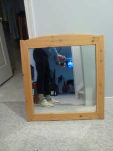 Wall mirror with pine frame