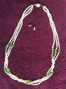 Gorgeous pearls and peridots set