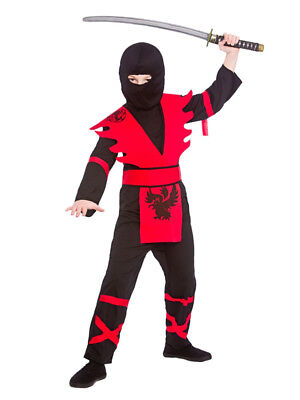 Samurai Kids Kostüme (Boys Kids Ninja Assasin Japenese Samurai Warrior Fancy Dress Costume Black Red)