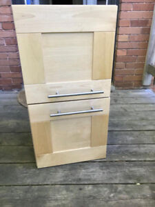 Ikea Akurum cabinets and filler panels light maple finish