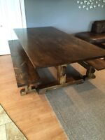 New Rustic Pine Harvest Table with 2 benches