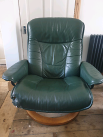 Green leather Swivel Recliner chair