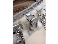 Fluffy cream and silver diamante handbag