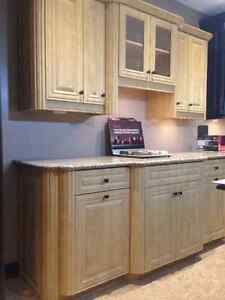 Beautiful Thermofoil Maple Kitchen Section w/ Quartz Countertop