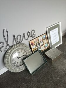 Clock. Picture. Wall hanging. Tray. Box.