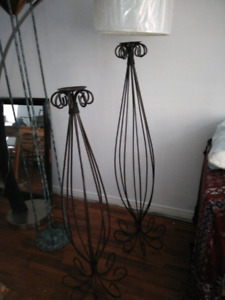 Floor lamp and wrought iron candle stands