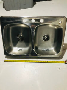 """Sink, Stainless Steel, Double. About 31"""" x 20"""""""