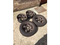 """Vauxhall 5 stud rims 16"""" 2 with near new tyres!!"""