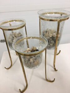 BRASS AND GLASS CANDLE DECOR