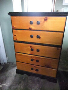 5 drawer tallboy dresser  in good cond, measures 34in wide by 18