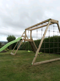 Double fun deluxe kids climbing frame monkey bars cargo net