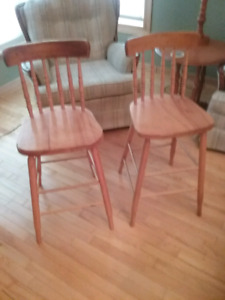Two Bass River Hardwood Bar Stools
