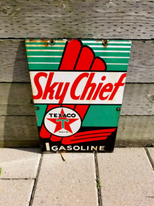 Vintage 1947 Porcelain Sky Cheif Gas Pump sign