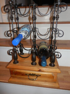 IRON AND WOOD TABLE TOP WINE RACK
