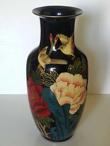 Decorative floral vase with 2 birds. black, gold, red. 45cm tall West Island Greater Montréal image 3