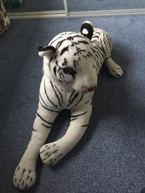 Giant white tiger cuddly toy