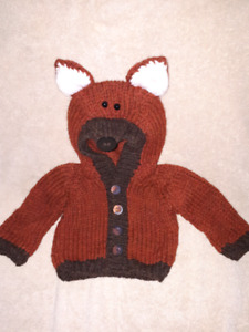 Adorable Homemade Fox Baby Sweater,Size 0/6mts,New