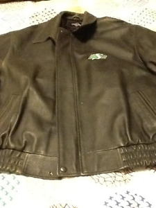 Saskatchewan Roughrider Leather Bomber Jacket Mans XL