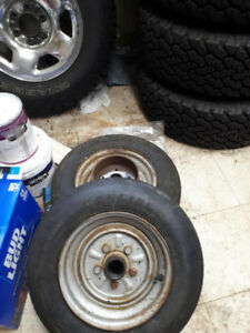 Complete electric brakes, drums, rims, and tires