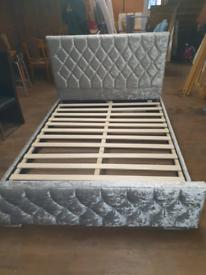 34. Crushed velvet kingsize bed frame
